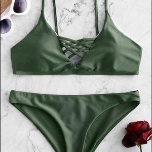 zaful green lace up bikini